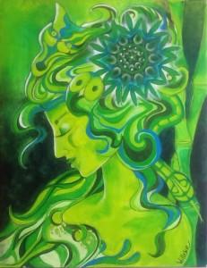 Schilderdingen groene godin